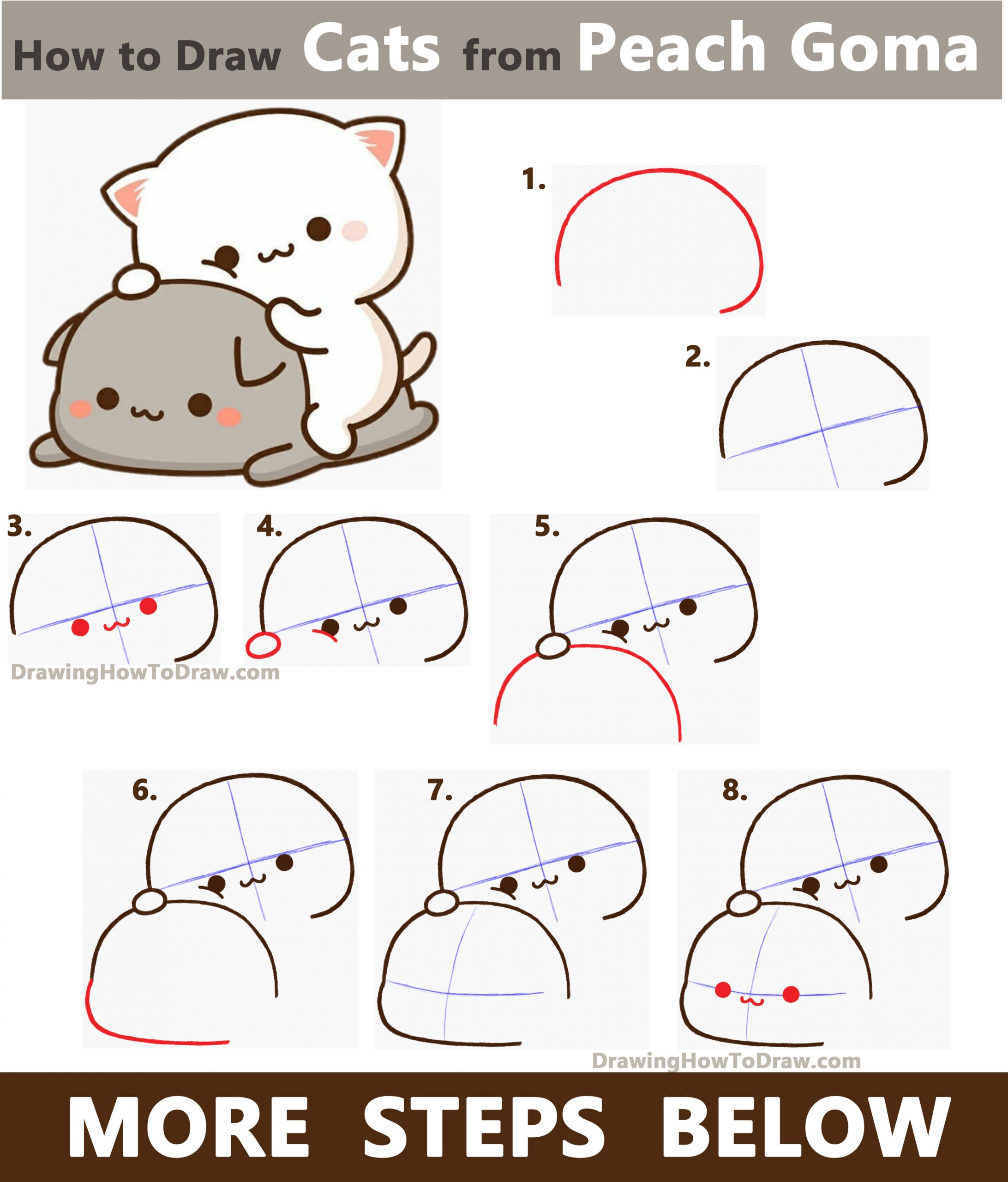 Learn How to Draw 2 Cats from Peach Goma (Super Cute / Kawaii) Easy Step by Step Drawing Tutorial