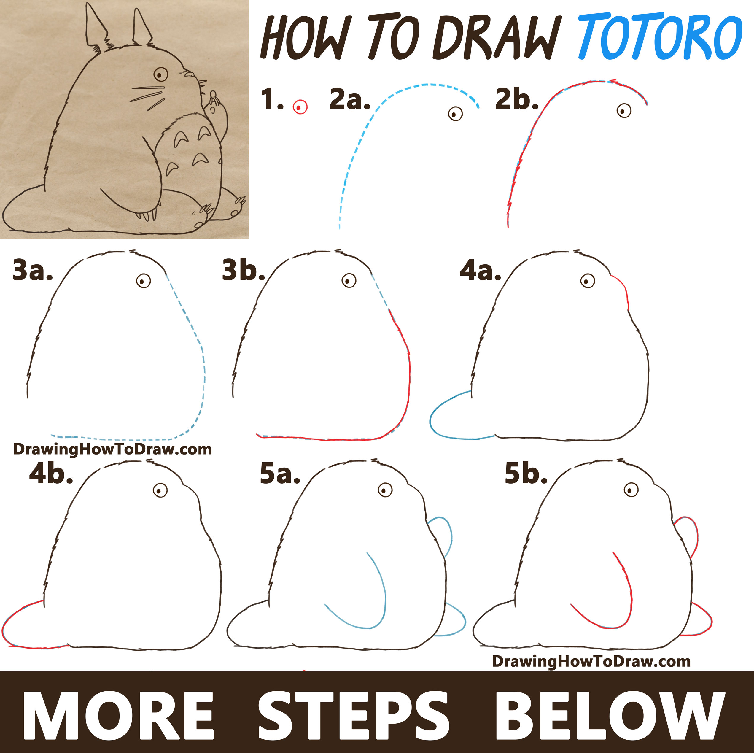 Learn How to Draw Totoro from My Neighbor Totoro - Easy Step by Step Drawing Tutorial (Animated by Studio Ghibli)