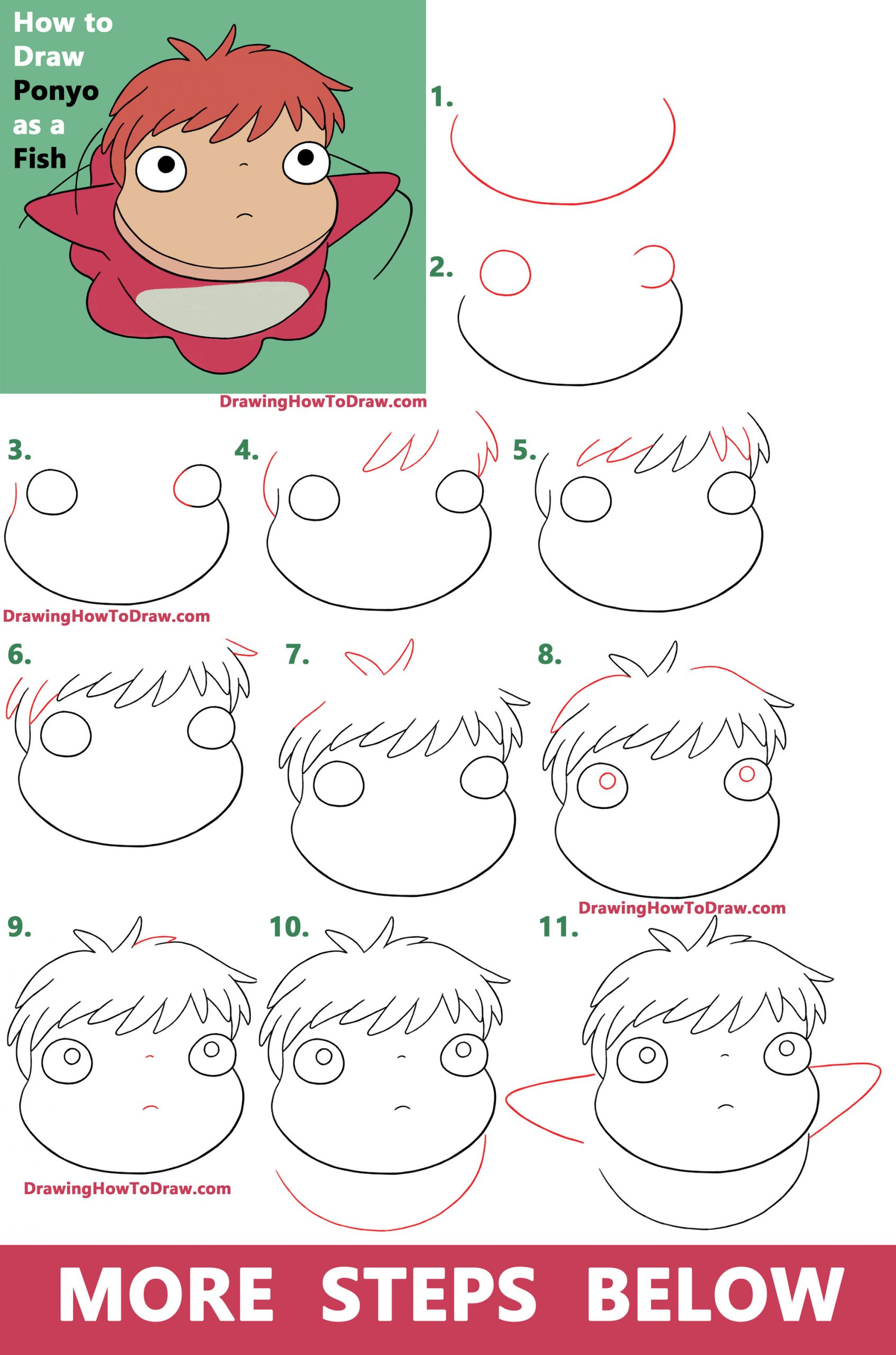 How to Draw Ponyo from Studio Ghibli - Easy Step by Step Drawing Tutorial