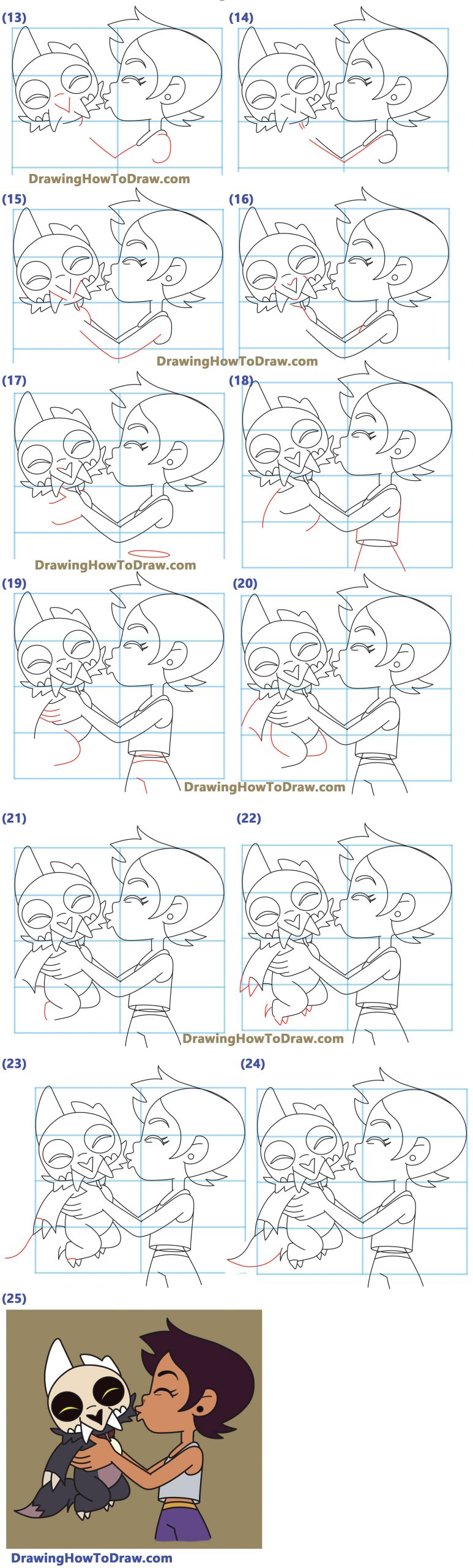 Learn How to Draw Luz and King from Owl House Easy Step by Step Drawing Tutorial for Kids