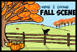 How to Draw an Autumn Fall Scene Step by Step Drawing Tutorial for Kids