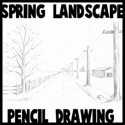 How to Draw Spring Landscape Scene in One Point Perspective Drawing Tutorial