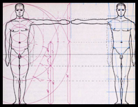 Drawing a Human Figure in Correct Measurements and Proportions with Archaic Calculations