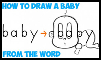 How to Draw a Cartoon Baby from the Word baby in Easy Steps