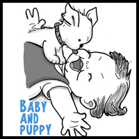 How to Draw a Cute Baby and Puppy Licking His Face
