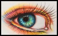 Colorful Eyes Made with Colored Pencils