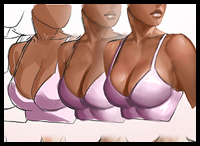 Learn how to draw cleavage, step by step