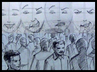 Compose and Draw large Crowd Scenes & Facial Expressions