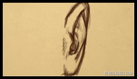 Learn how to draw a 3-dimensional ear from the front-view