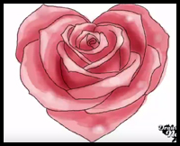 How To Draw Hearts With Roses Vines With Easy Step By Step