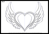 How To Draw Flying Hearts With Wings With Easy Step By Step