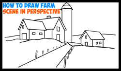 How To Draw A Farm Landscape Scene In 3 Point Perspective Drawing Tutorial