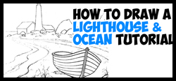 How to Draw a Lighthouse by the Ocean / Sea - on the Rocky Beach