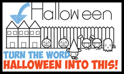how to draw halloween trick or treating scene from the word word toons easy drawing - Halloween Drawings Easy