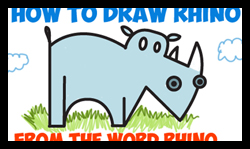 how to draw a rhino for kids