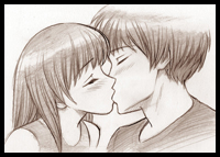 How to draw kissing people and animals with easy step by step how to draw people kissing ccuart Choice Image