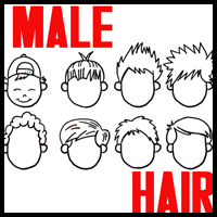 How to Draw Boys and Mens Hair Styles for Cartoon Characters Drawing Tutorial