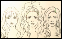 How to Draw Hair (Curly and Straight)
